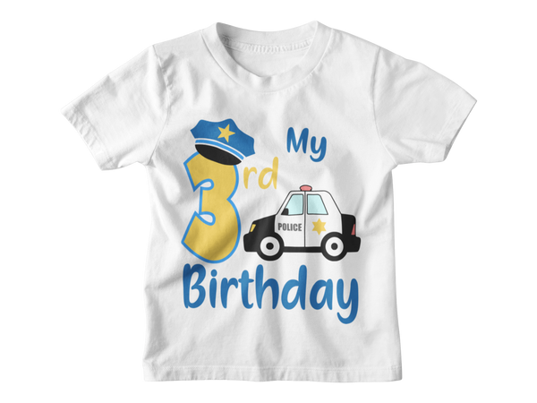 3rd Birthday Boy T-Shirt - My Third Birthday Police Car
