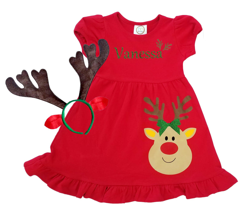 Brother Sister Red Reindeer Empire Dress and Shirt Coordinates