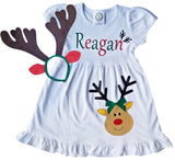 White Reindeer Empire Dress - Personalized