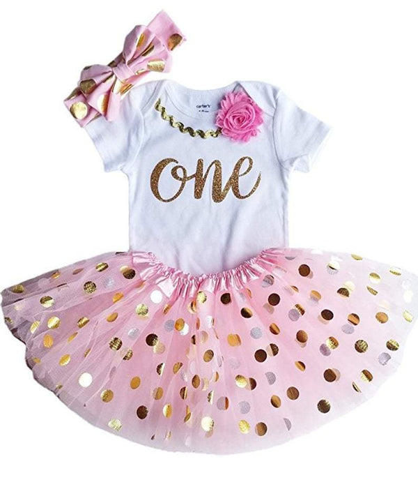 1st Birthday Girl Outfit - Pink & Gold ONE Tutu Set