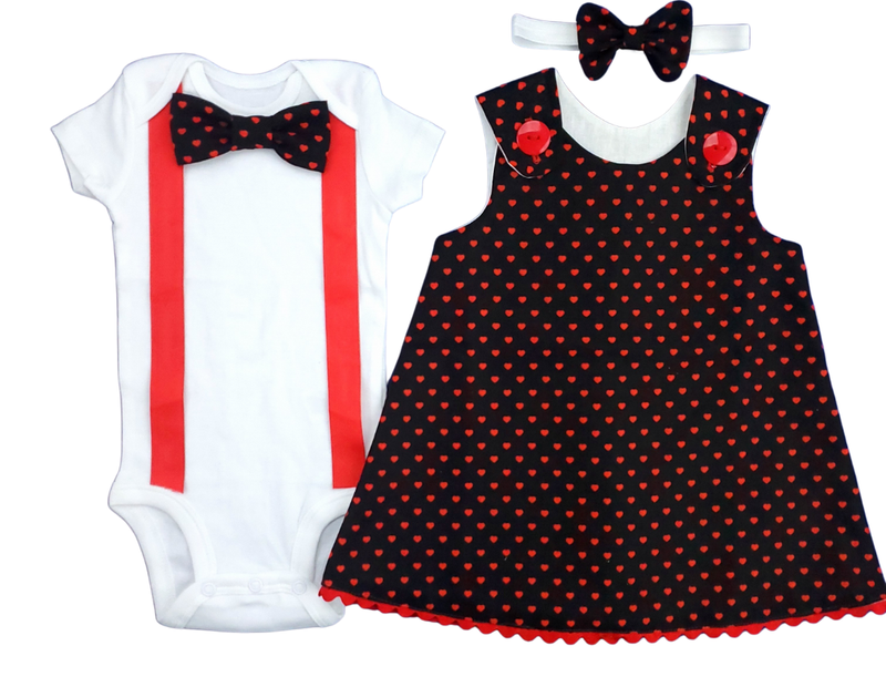 Twin Outfit Boy Girl Valentine Red Black Dress Set