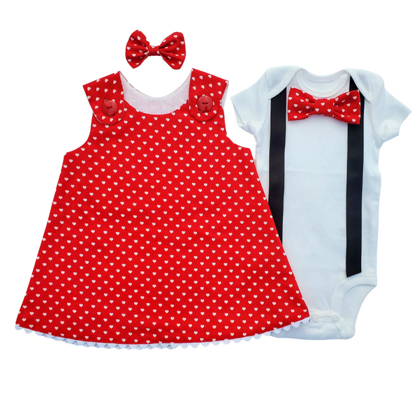 Twin Outfit Boy Girl Valentine Red White Dress Set