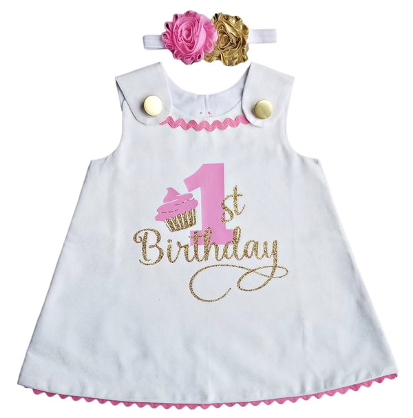 1st Birthday Girl Outfit - White Pink Gold A-Line