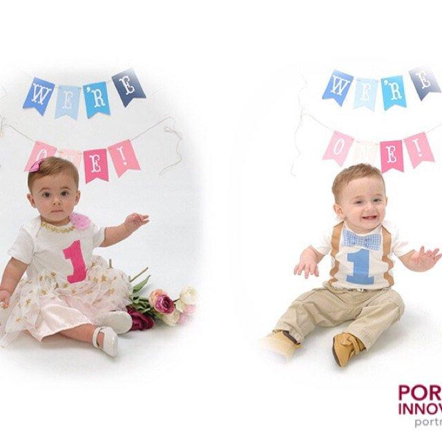 Boy Girl Twins 1st Birthday - Gingham and Pink