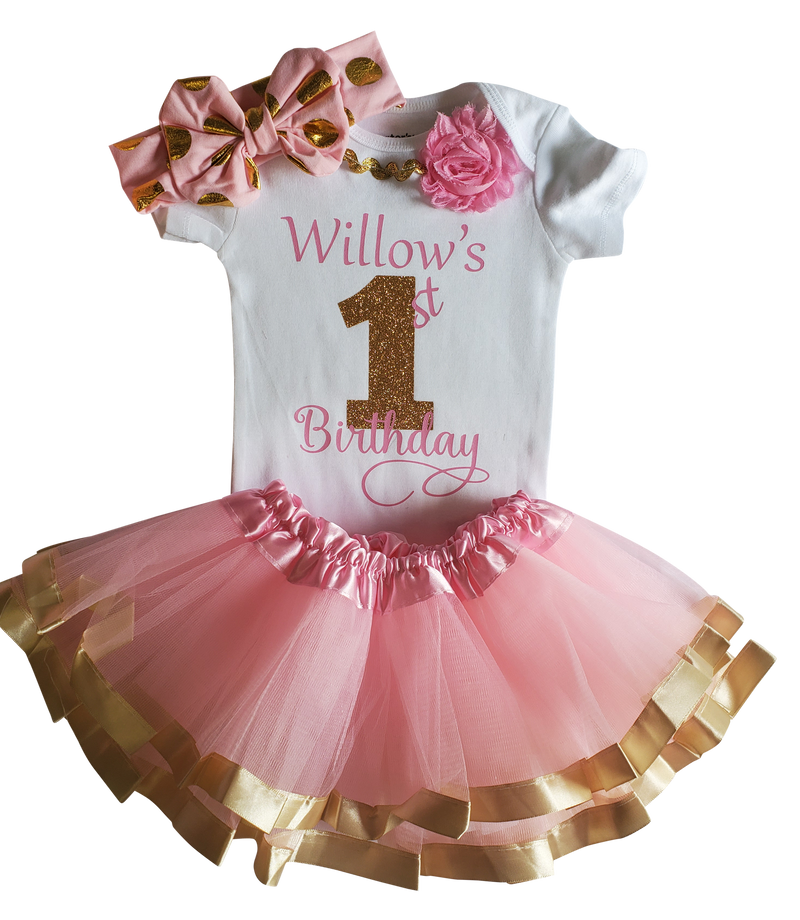 My First Birthday Girl Tutu Outfit - Pink and Gold Satin