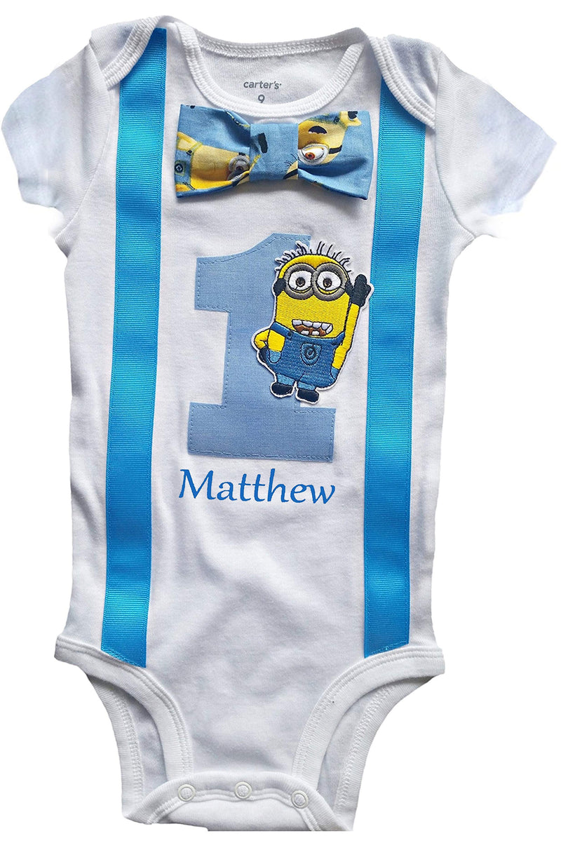 1st Birthday Baby Boys Outfit Minions Bodysuit