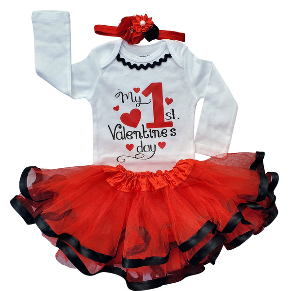 My First Valentine's Day Tutu Set - Red/Black