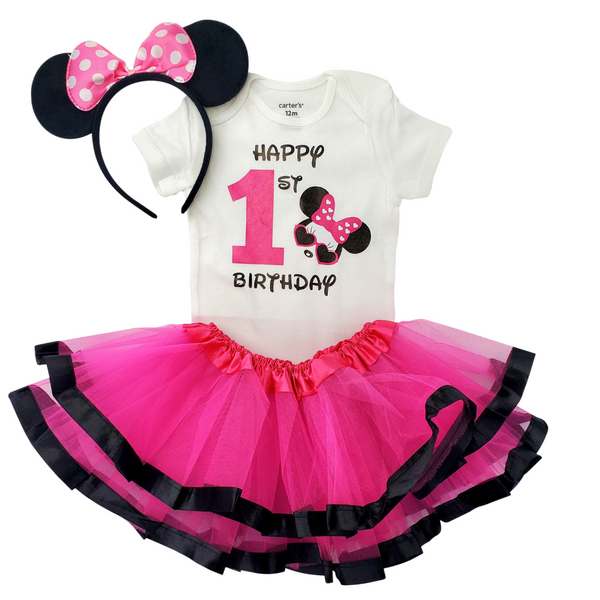 First Birthday Girl Outfit - Minnie Mouse Tutu Set Pink and Black