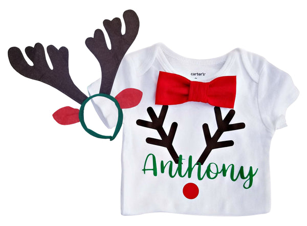 Reindeer Bow Tie Boy Shirt - Personalized