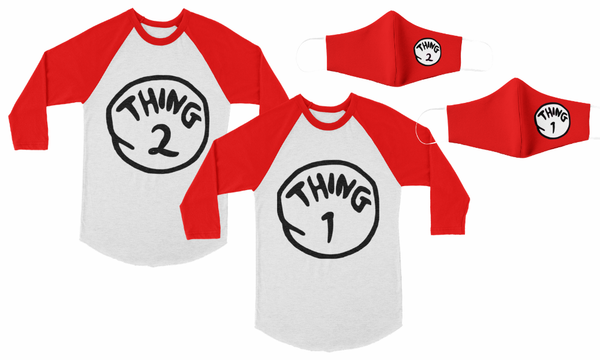 Twin Set - Thing 1 Thing 2 Raglan Tees + Matching Twin Masks