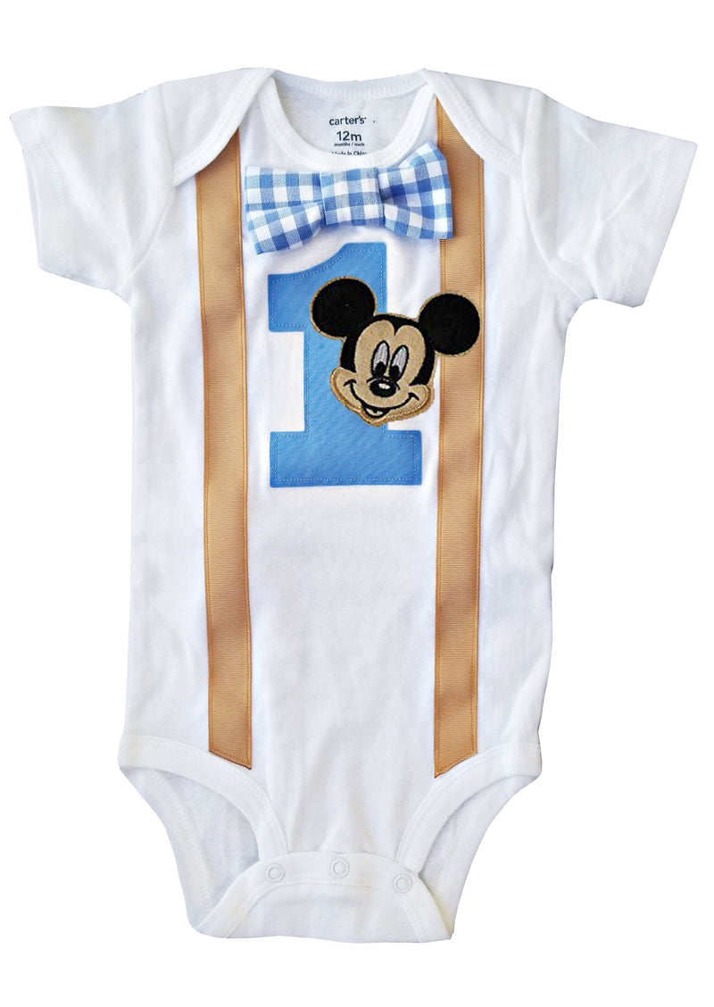 Boys Outfit 1st Birthday Mickey Mouse Bodysuit Gingham & Khaki