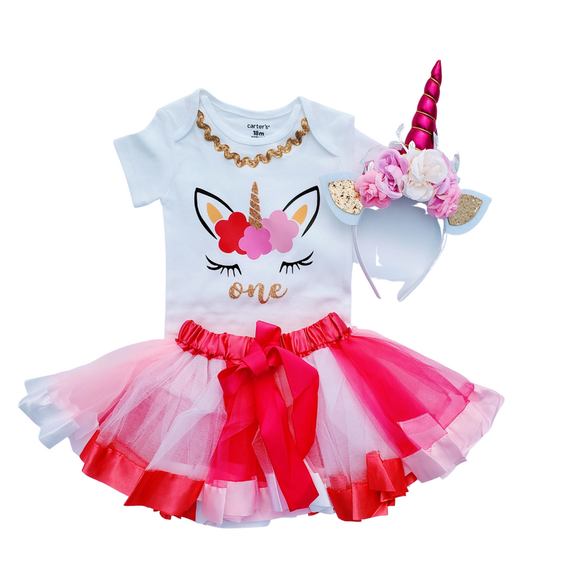 1st Birthday Outfit Baby Girl Tutu - Unicorn Pink/White