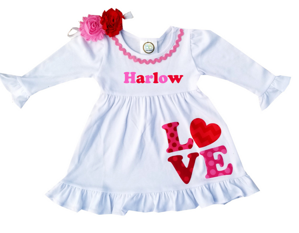 Personalized White Valentine's Day Dress- Harlow Dress