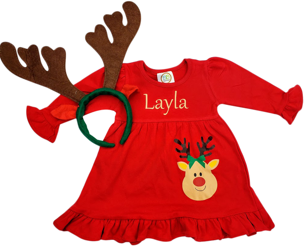 Red Reindeer Empire Dress - Personalized