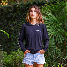 Load image into Gallery viewer, Dark grey long sleeve women's hoodie sweatshirt | Costa rica surf hotel | Surf hotel shop | The Gilded Iguana online store | Nosara gear