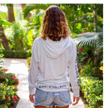 Load image into Gallery viewer, Light grey long sleeve women's hoodie sweatshirt | Costa rica surf hotel | Surf hotel shop | The Gilded Iguana online store | Nosara gear