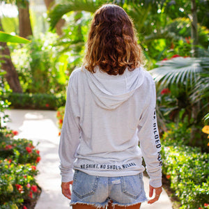 Light grey long sleeve women's hoodie sweatshirt | Costa rica surf hotel | Surf hotel shop | The Gilded Iguana online store | Nosara gear