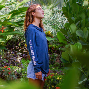 Blue long sleeve women's hoodie sweatshirt | Costa rica surf hotel | Surf hotel shop | The Gilded Iguana online store | Nosara gear
