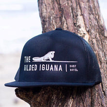 Load image into Gallery viewer, Black unisex trucker hat | Costa rica surf hotel | Surf hotel shop | The Gilded Iguana online store | Nosara gear