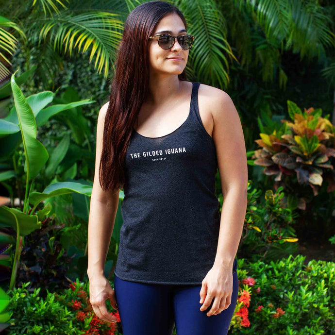 Black women's tank top | Costa rica surf hotel | Surf hotel shop | The Gilded Iguana online store | Nosara gear