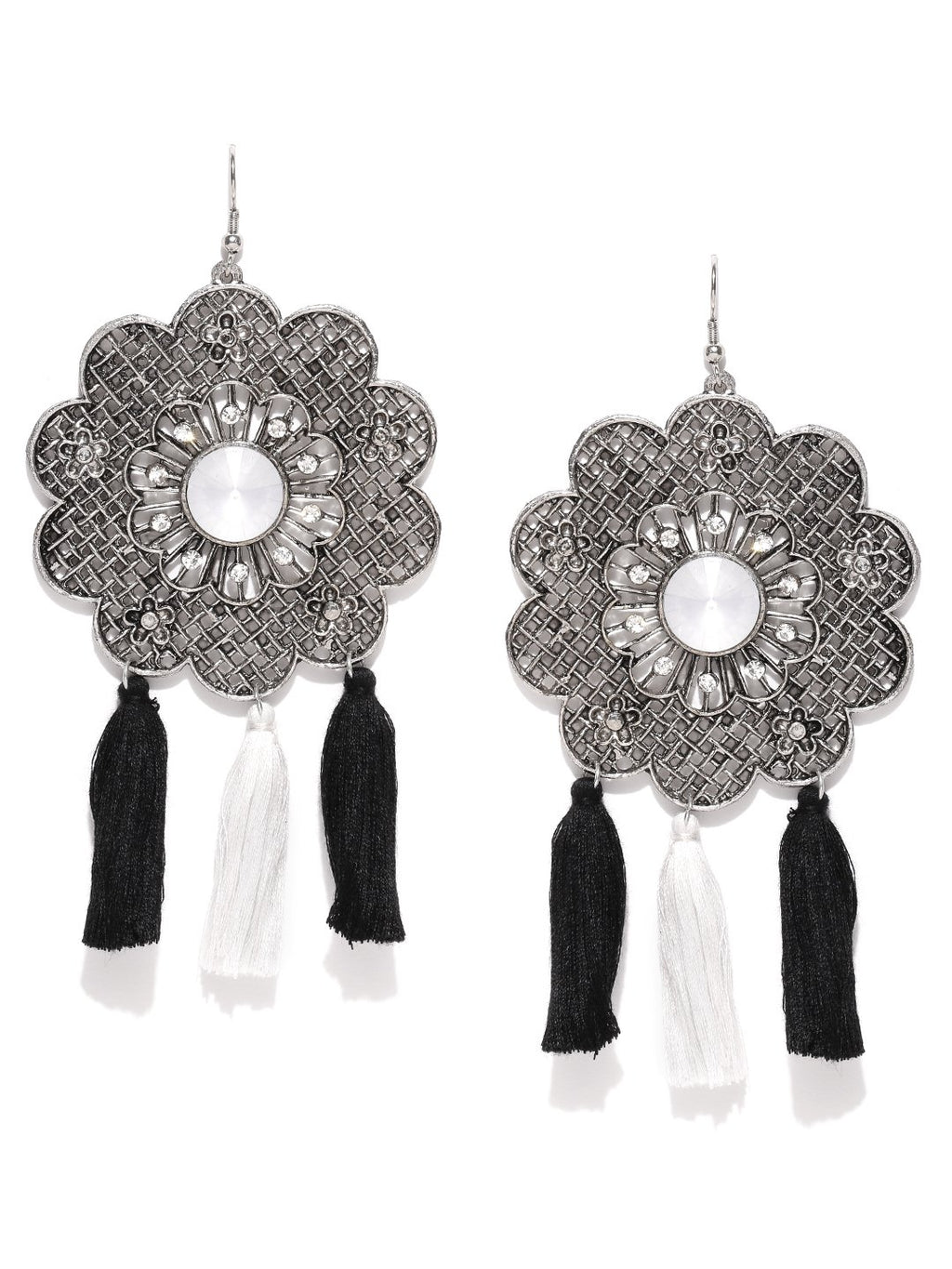 Blueberry oxidesd silver tassel drop earrings