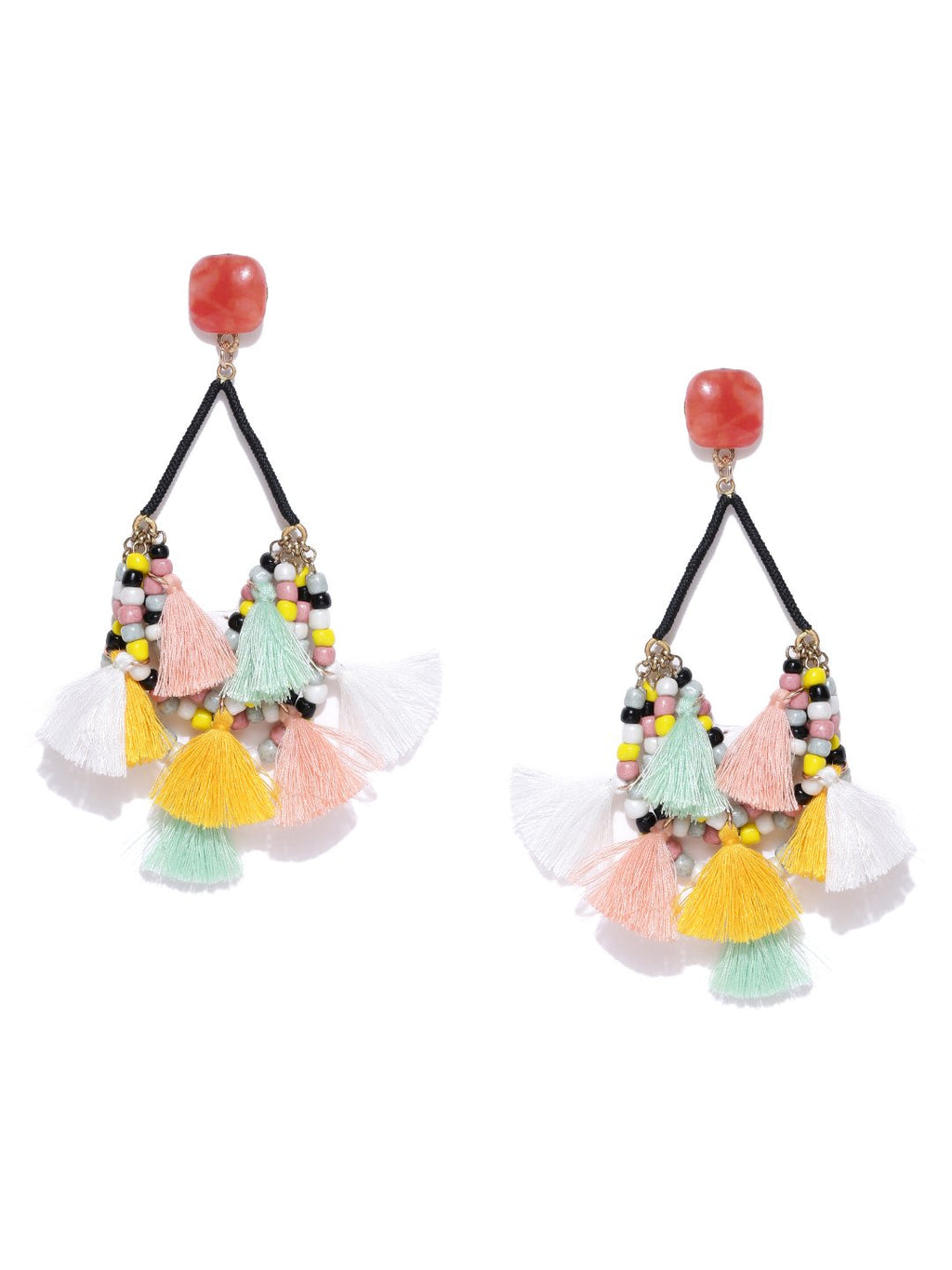 Blueberry multicoloured beaded contemporary tasselled earrings