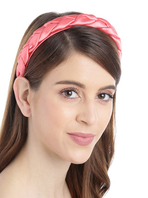 Blueberry coral colour cross knot detailings satin hairband