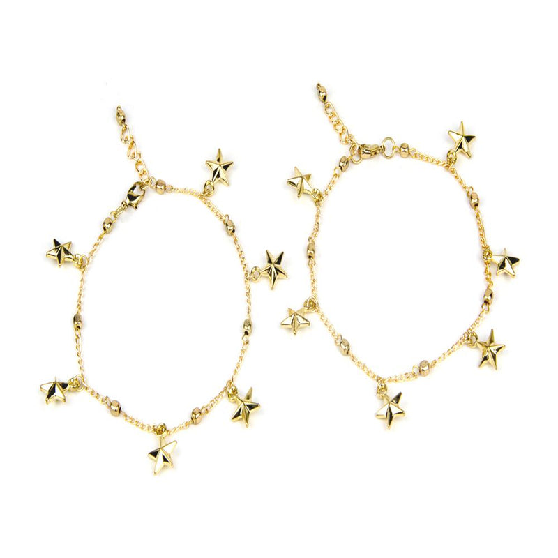 Blueberry set of 2 gold-toned chain anklets-onesize-gold