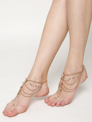 Set of 2 gold toned toe ring anklets