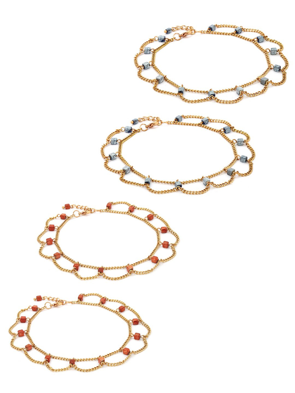 Set of 4 gold toned beaded anklets