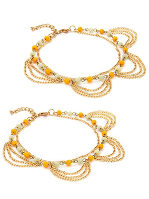 Set of 2 gold toned beaded anklets
