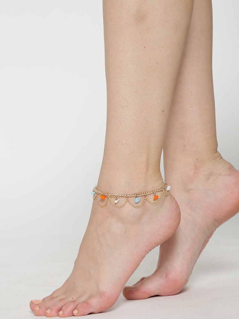 Gold toned beaded anklets