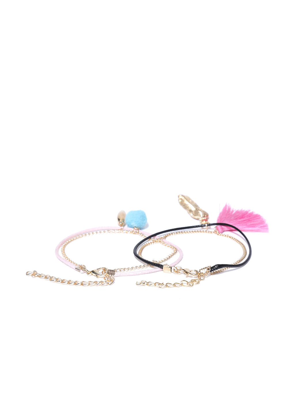 Set of 2 charm anklets