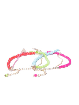 Set of 2 beaded charm anklets