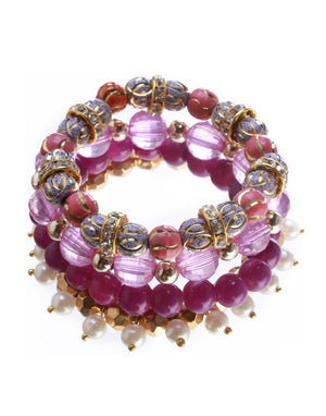 Blueberry set of 4 purple & gold toned bracelets-onesize-purple