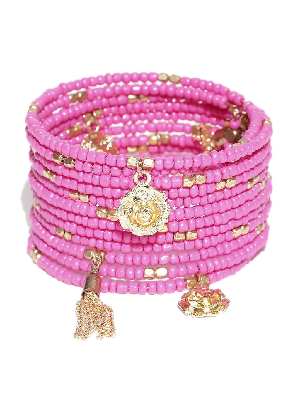 Blueberry pink beaded spiral bracelet