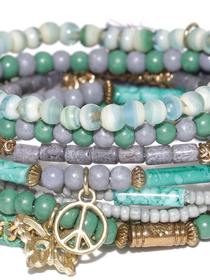 Blueberry set of 8 green and grey toned bracelets