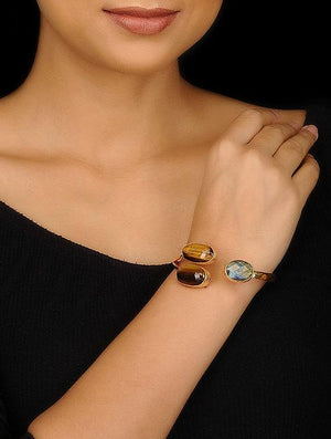 Blueberry gold plated tigers eye stone detailing cuff