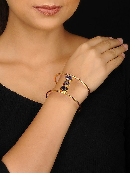Blueberry gold plated agate stone detailing cuff