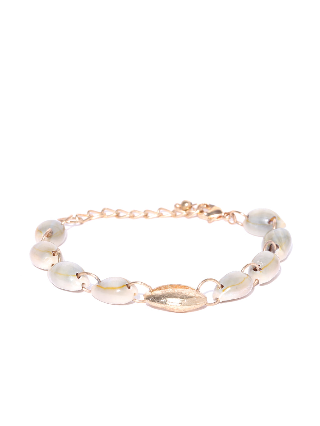 Blueberry golden and white shell bracelet