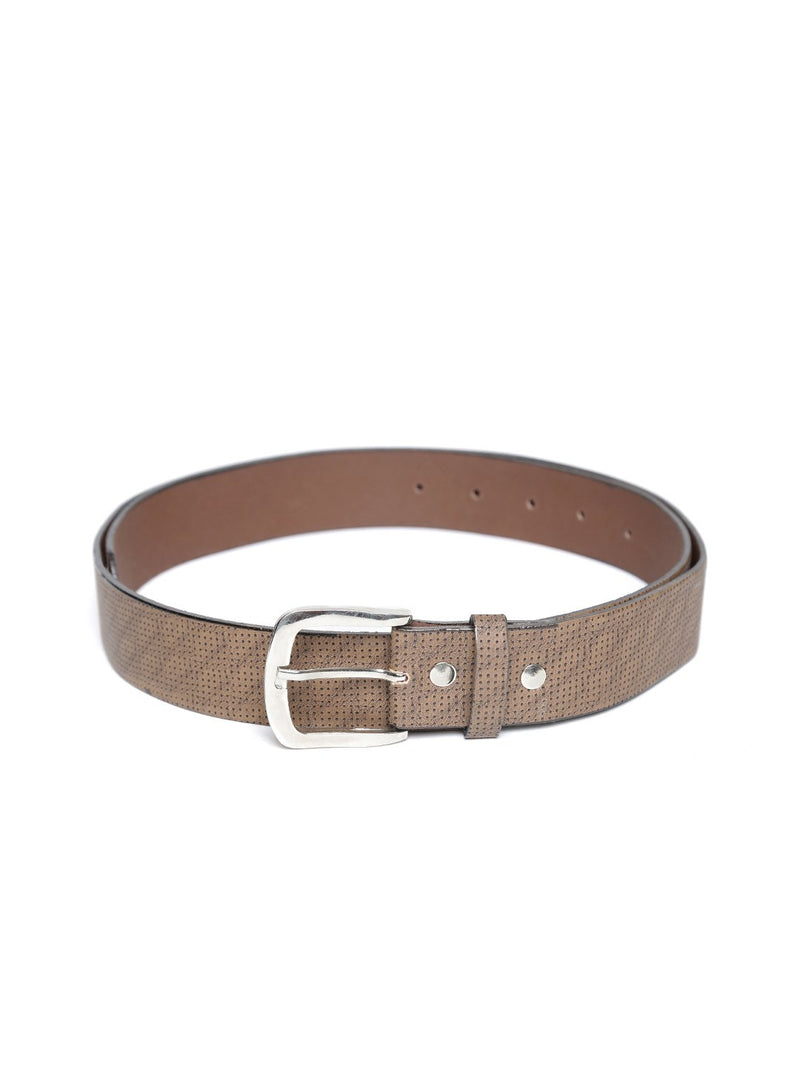 Lazy panda black dotted on brown leather belt for men