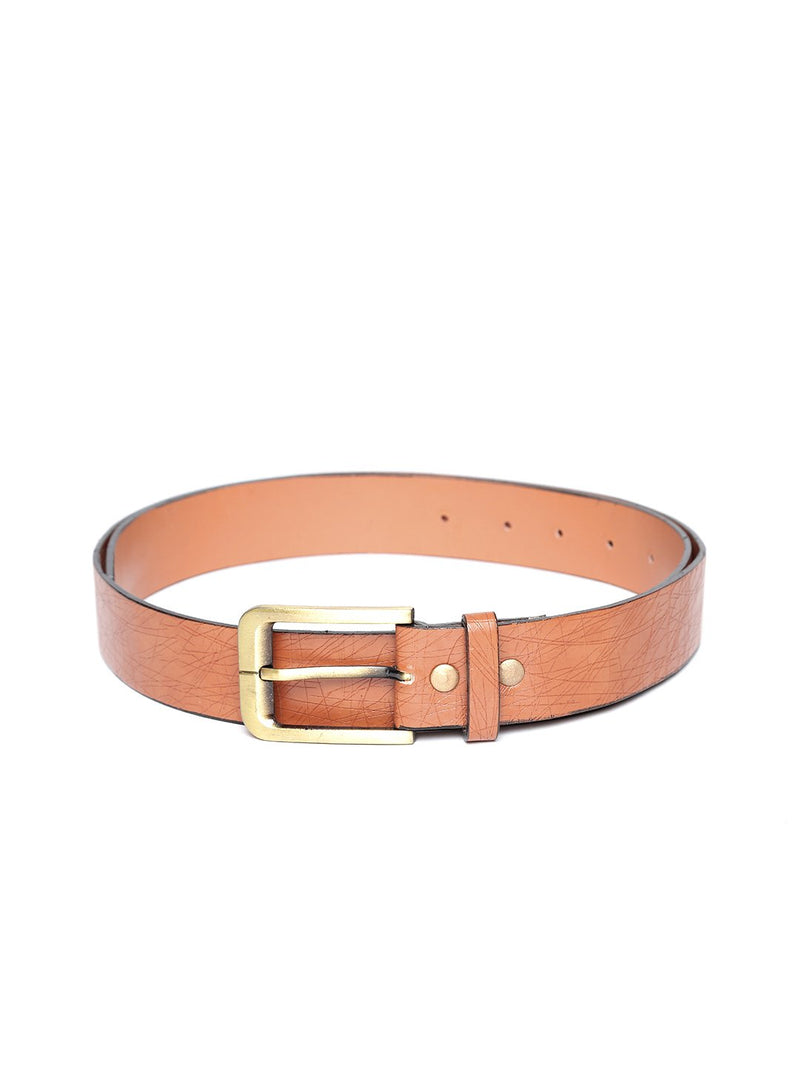 Lazy panda brown leather belt for men