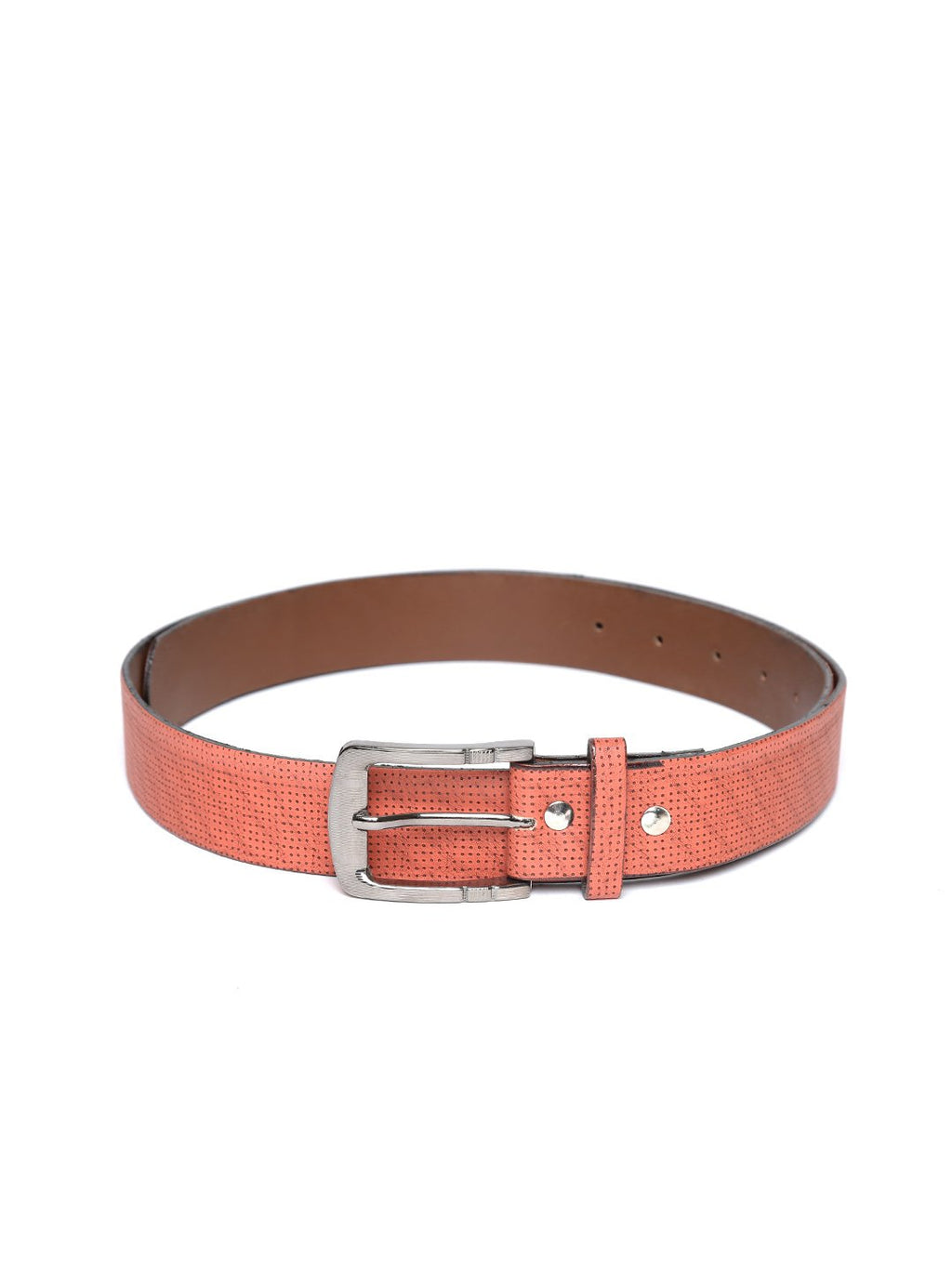 Lazy panda dark brown dotted on brown leather belt for men
