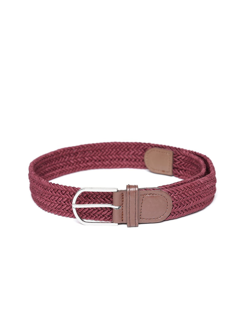 Lazy panda men burgundy braided stretchable belt