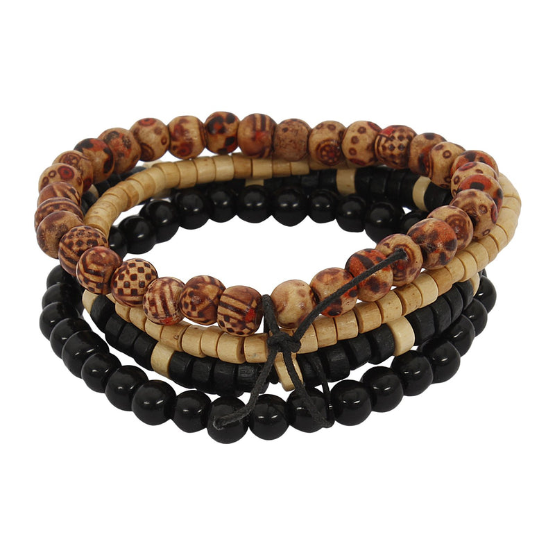 Lazy panda wood, glass bracelet set (pack of 4)