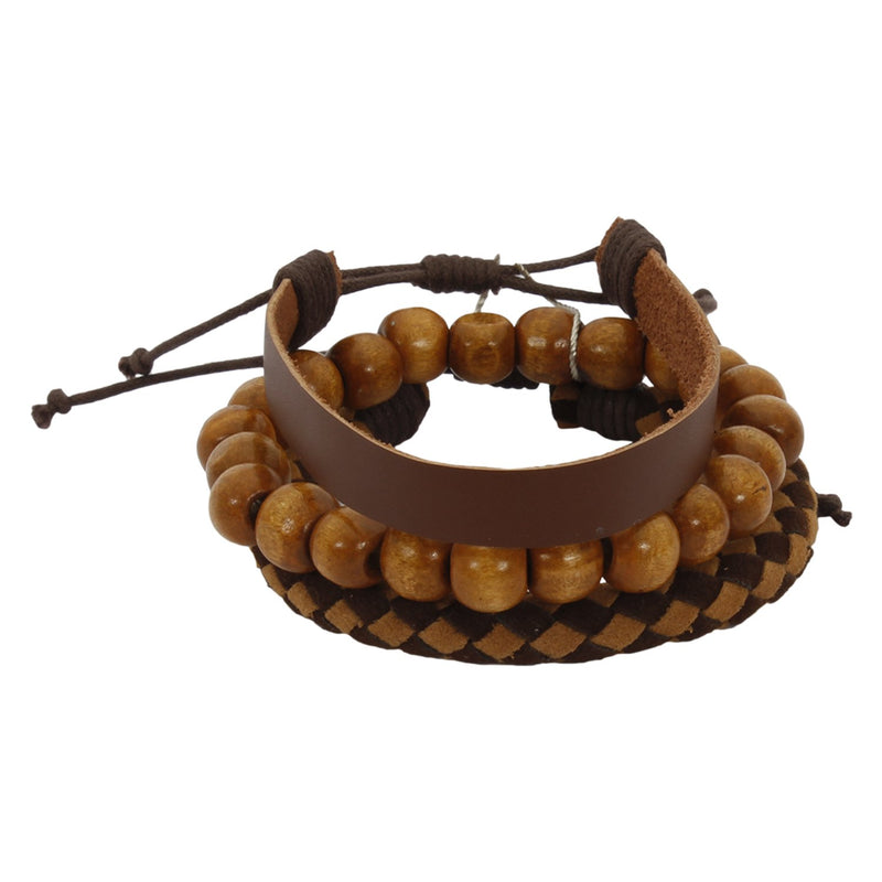 Lazy panda wood, leather bracelet set (pack of 3)