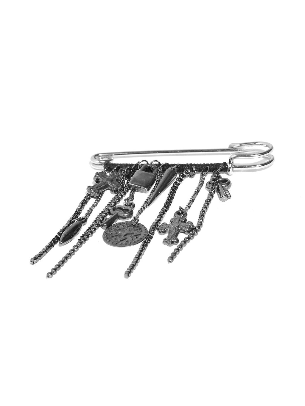 Lazy panda men gunmetal-toned brooch with charms-onesize-metallic