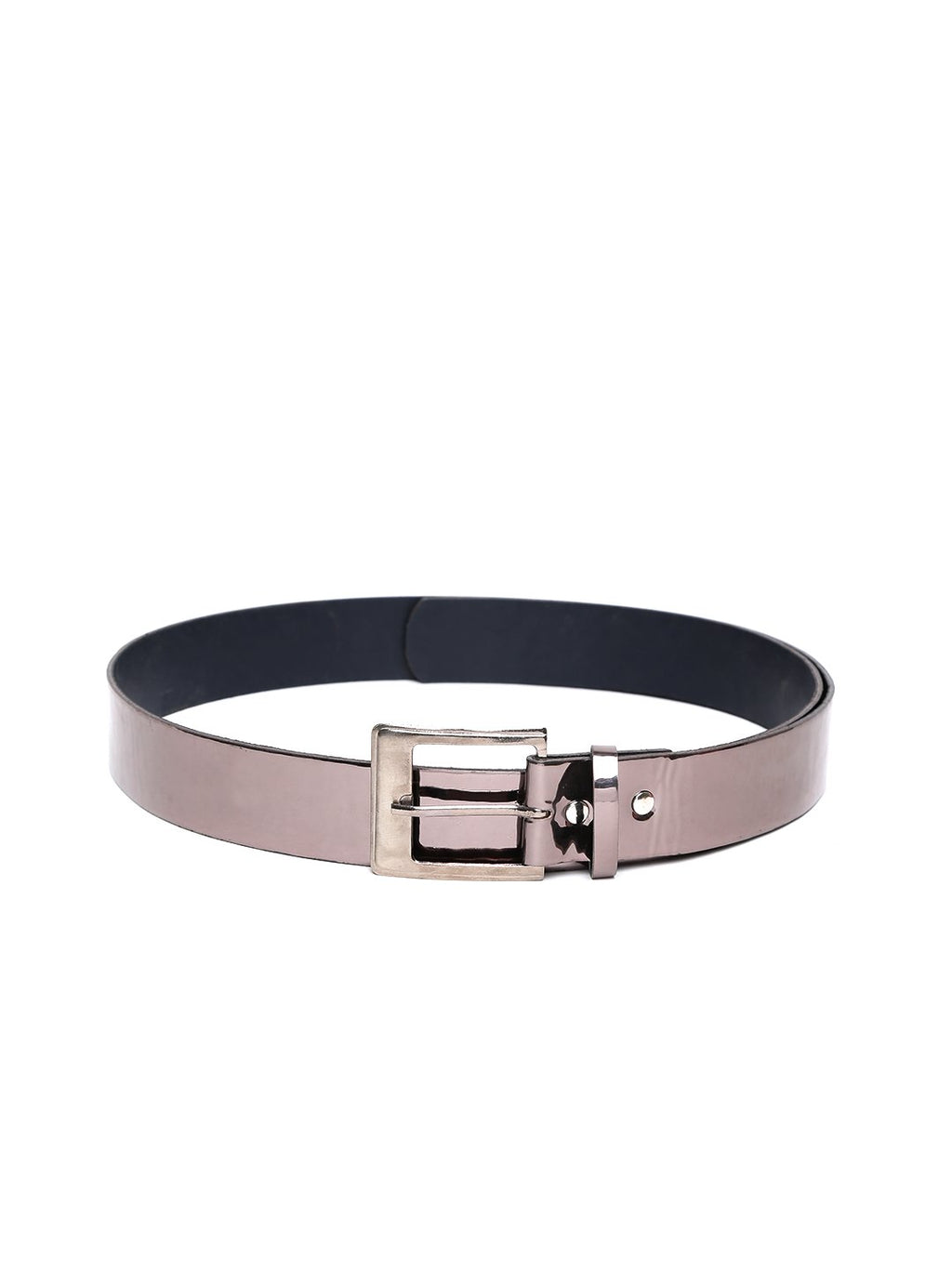 Lazy panda men grey metallic leather belt