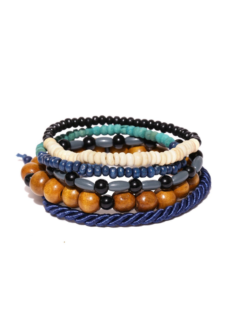 Lazy panda Men Set of 5 Multicoloured Bracelets