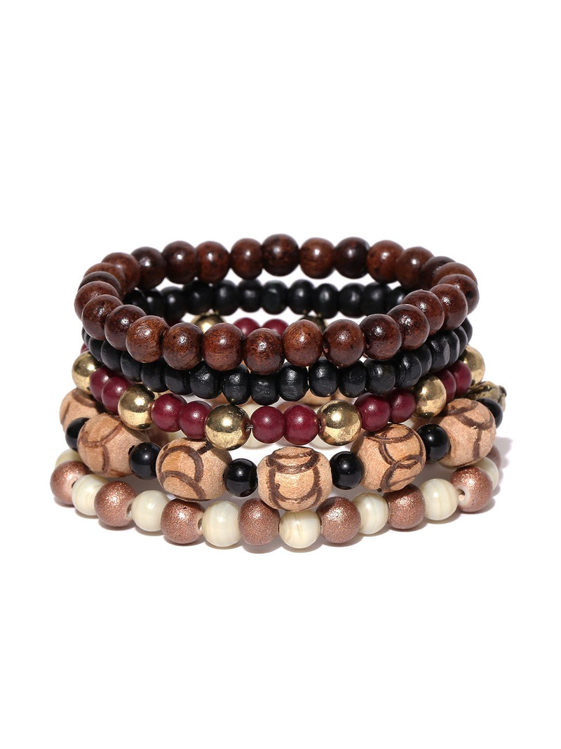 Lazy panda Men Set of 5 Multicoloured Beaded Bracelets